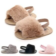 Fur Baby Infant Shoes Sandals Soft Fluffy Sole Newborn Slippers Toddler Girl USA
