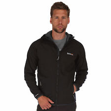 REGATTA AREC MENS SOFTSHELL BLACK JACKET WATER REPELLENT RML124
