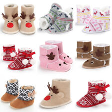 Xmas Christmas Elk Baby Kids Soft Sole Warm Snow Boot Crib Shoes Toddler Boots