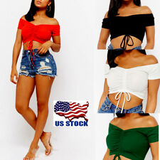 Womens Lace Up Off Shoulder Short Sleeve Crop Top Club Party Blouse T-shirt Vest