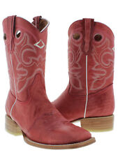 Womens Red Mid Calf Leather Pull On Cowboy Boots Riding Rodeo Square Toe