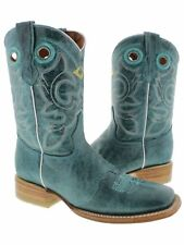 Womens Turquoise Mid Calf Leather Pull On Cowboy Boots Riding Rodeo Square Toe