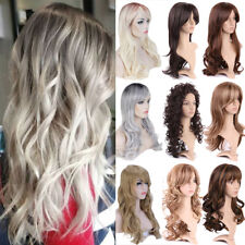 Ombre Women Cosplay Party Full Wig With Bangs Long Curly Wavy Blonde Brown Wig @