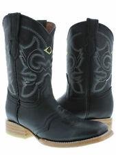 Women's Black Mid Calf Ankle Leather Cowboy Rodeo Western Wear Square Toe Boots