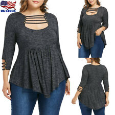 Women's Long Sleeve Cut Out Tunic Top Plus Size Casual Loose Tops Blouse T-Shirt