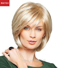 MAYSU Side Parting Human Hair Wigs For Women Short Hair Wigs Bob Style Wigs