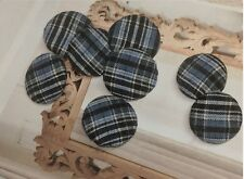 12 Pieces Navy with Black And White Plaid Fabric Shank Buttons , Sewing Supply