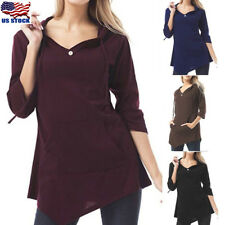Women 3/4 Sleeve V Neck Hoodies Tunic Casual Loose Pullover Jumper Blouse Top US