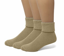 EMEM Women's Soft Ribbed Turn Cuff Cotton Ankle or Crew Socks 3-Pack, Plus Size