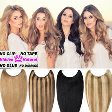 One pieces  No Clips Fish Line Hair Wire Flip In Remy Human Hair Extensions W56