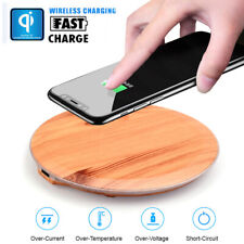 Wood Wireless Charger Dock Charge Station Charging Pad For iPhone Samsung Huawei