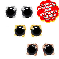 3.00 Ct Round Cut Black Moissanite 14K White Gold Over Solitaire Stud Earring