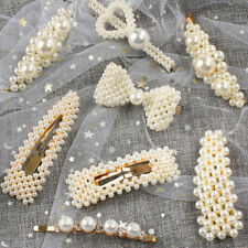 Women Pearl Hair Clip Snap Barrette Stick Hairpin Hair Accessories Gift Vintage