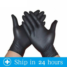 100 Black Disposable Gloves Powder Latex Medical Exam Surgical Gloves S-M-L
