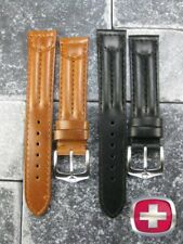 19mm VICTORINOX SWISS ARMY CAVALRY LEATHER STRAP Black Brown Watch BAND 19 mm