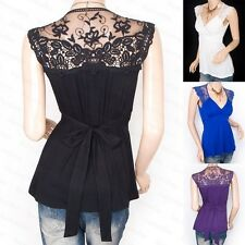 Fashionable Cross Bust Lace Embroidered Back Blouse Top