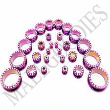 V048 Screw-on Hot Pink CZ Steel Flesh Tunnels Plugs