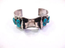 TURQUOISE STERLING SILVER WATCH BANGLE 68GR