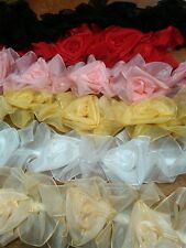 "ORGANZA ROSES Sheer 2 3/4"" Stretch Trim 1 yd ELASTIC"