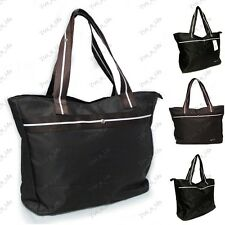 LARGE Leisure Nylon Shoulder Handbag Shopper Brown Black