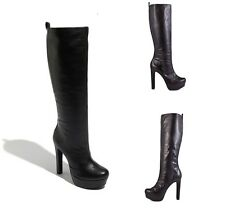 NEW IN BOX JESSICA SIMPSON Black Leather JS - Ambery Platform Knee High Boots