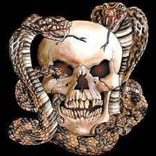 Skull With Two Snakes Biker T-Shirt All Sizes & Colors New
