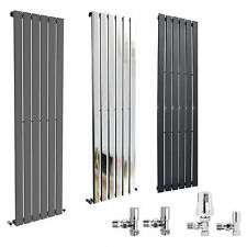Designer Vertical Column Radiator -  Heated Tall Modern Flat Rad Chrome Valves