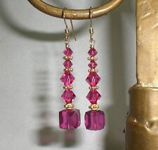 Fuchsia Pink Cube 14K Gold Filled Crystal Earrings Made With Swarovski Elements