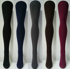 Fleece Lined Thick Winter Tights - Black Grey Gray Brown Navy Burgundy Maroon