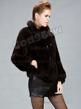 100% Real Genuine Knitted Mink Fur Coat Jacket Outwear Garment Vintage Winter