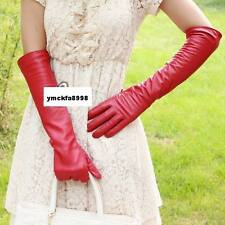 "50cm(19.6"") long lady's real leather evening gloves red"