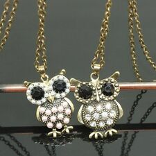 Vintage style bronze pearl / crystal owl charm necklace