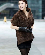 100% Real Genuine Knit Mink Fur Stole Cape Shawl Scarf Coat Womens Winters New