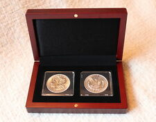 Mahogany Wood Grain Box for 2 Quadrum Coin Capsule Holders from Lighthouse