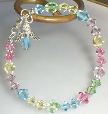 Yellow Green Pink Crystal Angel Charm Bracelet Made With Swarovski Elements