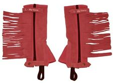 Kids Suede Leather Half Chaps Red - Kid sizes: S, M or L. Select Any Size