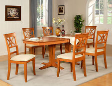 9PC DINING ROOM SET TABLE AND 8 WOOD SEAT CHAIRS IN LIGHT CHERRY FINISH