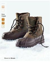 EDDIE BAUER INSULATED WINTER SNOW LEATHER OIL CLOTH PAC BOOTS Sz 8,9,10,11 NEW