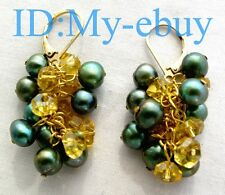 6mm Green Freshwater Pearl Golden Crystal Earrings 14KGP Leverback