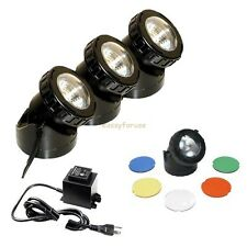 JEBAO SUBMERSIBLE HALOGEN LIGHT KITS 4 FISH POND FOUNTAIN WARM WHITE COLOR LENS