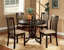 "5PC ROUND 42"" KITCHEN DINETTE SET TABLE AND 4 WOOD OR UPHOLSTERED CHAIRS WALNUT"