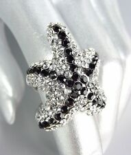 EXQUISITE Clear Black Pave CZ Crystals Starfish Ring
