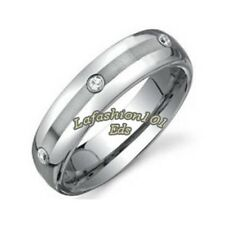 6mm Wide Tungsten Brushed Center 3 Clear CZs Mens Wedding Ring SZ 9,10,11,12,13