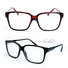 Clear Lens Glasses Spring Hinge Temples Black or Tortoise Stylish Retro Design