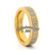 New 6mm Tungsten Carbide Gold IP Celtic Mens Wedding Ring SZ 9,10,11,12,13