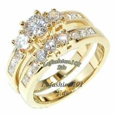 14K Gold Plated Round CZ Womens Wedding Engagement Anniversary Ring Set Size 5