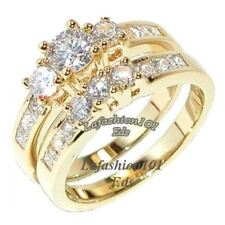 1.35ct Gold Plated Womens WEDDING/ENGAGEMENT 2 RINGS SET sz 5,6,7,8,9,10
