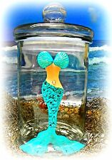 Tropical Glass Canister Mermaid Palm Tree Beach Decoration Nautical Party Gift