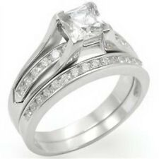 Clear CZ  Rhodium Plated Solitaire with Accents Engagement SET SIZE 5,6,7,8,9,10