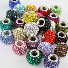 HOT SOLID SWAROVSKI CRYSTAL 925 SILVER FINDINGS EUROPEAN CHARM BEAD COLORS